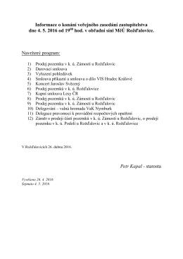 Program zasedání zastupitelstva (4. 5. 2016)