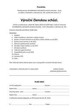 Pozvánka na členskou schůzi 2016