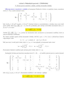 cvicen´ı z Náhodných proces˚u 1 (NMSA334) 9. obecný proces