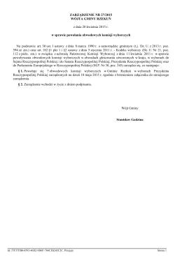 Zarzadzenie Nr 27/2015 z dnia 20 kwietnia 2015 r.