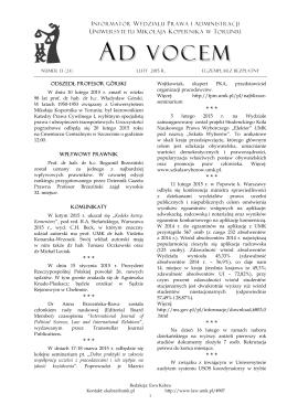 Ad Vocem 2015, nr 13 - Wydział Prawa i Administracji UMK