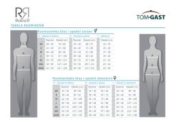 TABELA ROZMIARÓW Rozmiarówka bluz i spodni - Tom-Gast