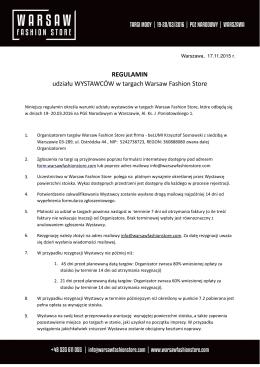 Regulamin uczestnictwa Wystawcy w targach Warsaw Fashion Store