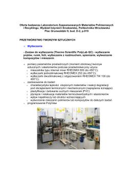 Oferta badawcza Laboratorium Zaawansowanych Materiałów