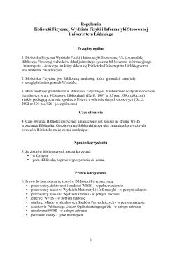 Regulamin Biblioteki Fizycznej - Wydział Fizyki i Informatyki