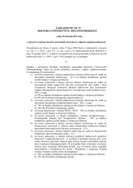 Zarządzenie numer 35 Rektora UZ z dnia 29.04.2015 r. w sprawie
