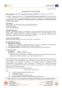 """Zapytanie ofertowe 12/PL-NTU/2015 Dotyczy projektu : """"PL"""