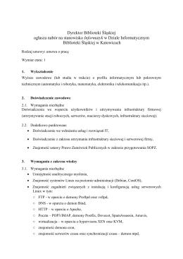 Dyrektor Biblioteki Śląskiej ogłasza nabór na