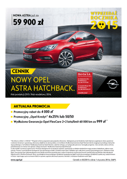 Nowy Opel Astra Hatchback ceny 2015 - Nowy Opel Astra - Dixi-Car