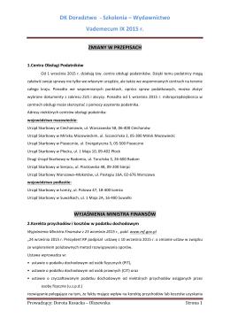 DK Doradztwo -‐ Szkolenia – Wydawnictwo Vademecum IX 2015 r.