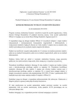 Ogłoszenie i zasady konkursu Erasmus+ na rok 2015/2016 w