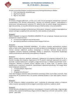 WNIOSKI z VIII POLSKIEGO KONGRESU ITS 26.-27.05