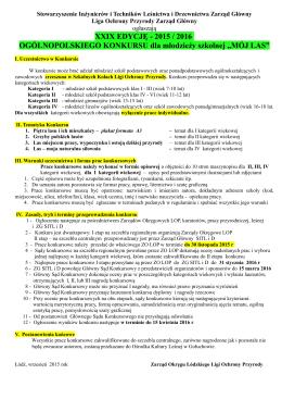 XXIX EDYCJĘ - 2015 / 2016 OGÓLNOPOLSKIEGO KONKURSU dla