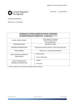 Informacja o wyniku naboru - BIP