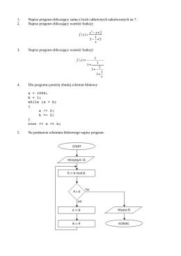 1. Napisz program obliczający sumę n liczb całkowitych