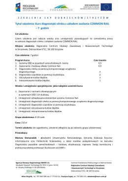 Tytuł szkolenia: Kurs diagnostyki silnika z układem zasilania