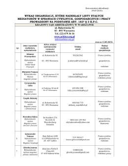 Wykaz organizacji, które nadesłały listy stałych mediatorów w