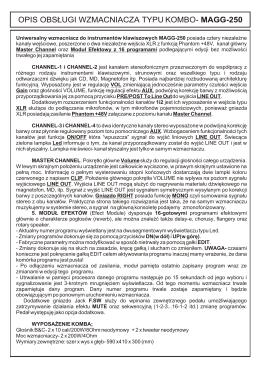 opis obs£ugi wzmacniacza typu kombo- magg-250