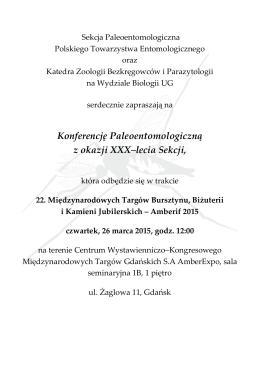 Konferencję Paleoentomologiczną z okazji XXX–lecia Sekcji,