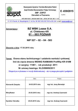 Wycena linii WEINING RAIMANN ProfiRip KR 610M, r. prod.2011