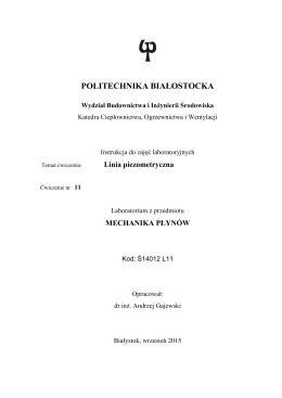 Linia piezometryczna - Politechnika Białostocka