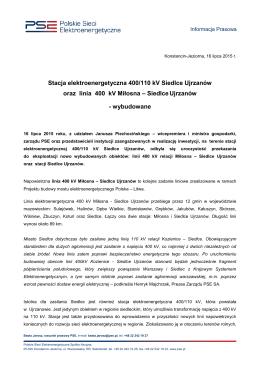 Stacja elektroenergetyczna 400/110 kV Siedlce Ujrzanów oraz linia