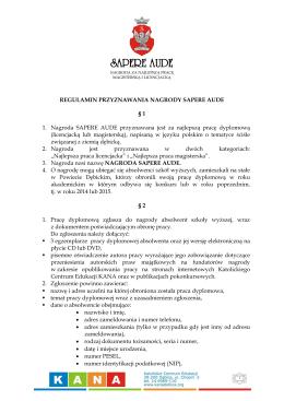 Regulamin konkursu Nagroda Sapere Aude