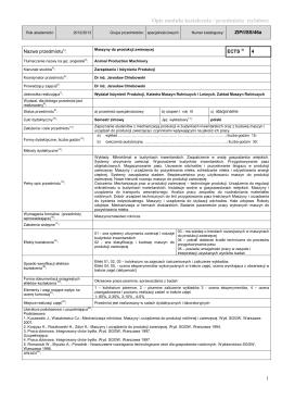 Opis modułu kształcenia / przedmiotu (sylabus)