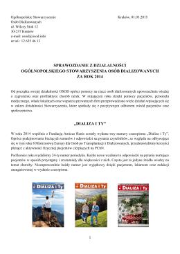 Sprawozdanie - Ogólnopolskie Stowarzyszenie Osób Dializowanych