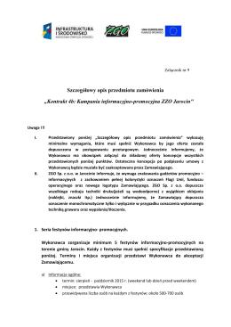 """Szczegółowy opis przedmiotu zamówienia """"Kontrakt 4b: Kampania"""