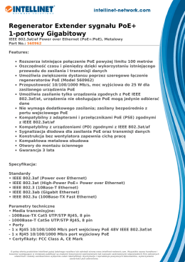 Regenerator Extender sygnału PoE+ 1-portowy Gigabitowy
