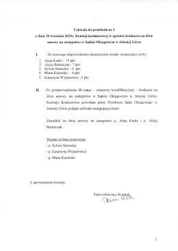 Uchwala do protokołu nr 2 z dnia 18 września 2015r. Komisji