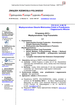 Regulamin Mistrzostw - Look - Międzynarodowe Targi Poznańskie