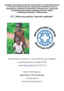 """PT. """"Medycyna podróży i choroby tropikalne"""""""