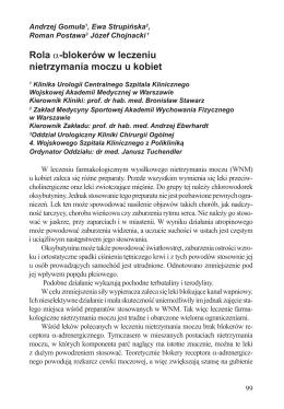 Rola α-blokerów w leczeniu nietrzymania moczu u kobiet