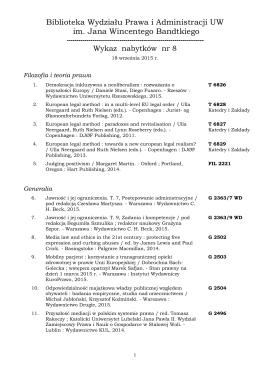 nabytki nr 8 [2015] - Wydział Prawa i Administracji UW