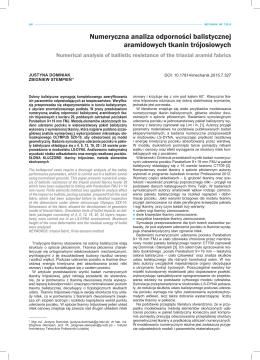 Numeryczna analiza odporności balistycznej