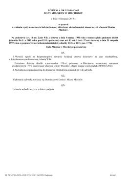 Projekt uchwały Rady Miejskiej w Miechowie w sprawie