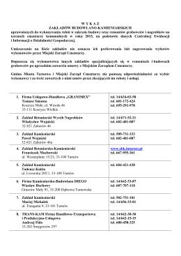 Lista zakładów  - Miejski Zarząd Cmentarzy w Tarnowie