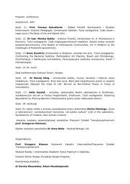 Plan konferencji - Akademia Sztuk Pięknych w Gdańsku