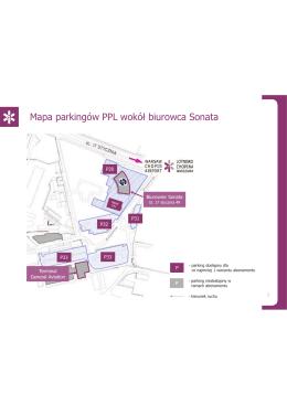 Mapa parkingów wokół Sonaty - Lotnisko Chopina w Warszawie