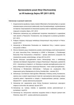Sprawozdanie z działalności poseł Alicji Olechowskiej VII kadnecja