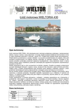 Opis techniczny łodzi WIELTORIA 430