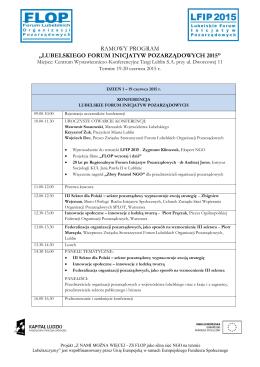 """ramowy program """"lubelskiego forum inicjatyw pozarządowych 2015"""""""
