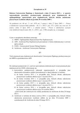 Zarządzenie nr 39 Rektora Uniwersytetu Śląskiego w Katowicach z