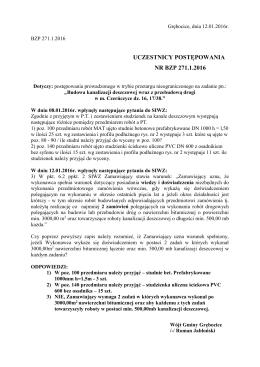 UCZESTNICY POSTĘPOWANIA NR BZP 271.1.2016