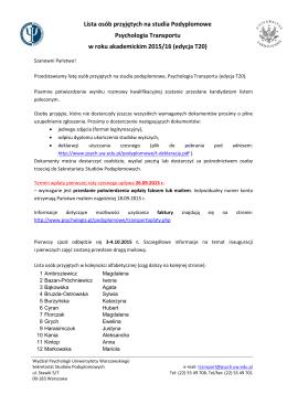 Lista osób przyjętych na studia Podyplomowe Psychologia