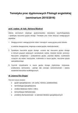 Tematyka prac dyplomowych Filologii angielskiej (seminarium 2015