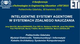 Inteligentne systemy agentowe w systemach zdalnego nauczania