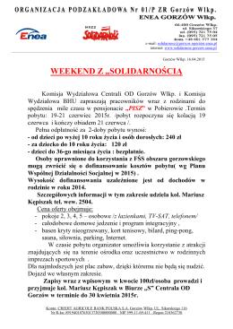 Weekend z Solidarnością -19-21.06.2015 r.